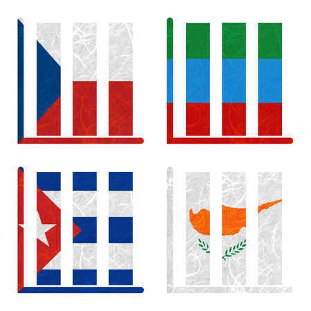 dagestan: Nation Flag. Book-shelf recycled paper on white background. ( Cuba , Cyprus , Czech Republic , Dagestan ) Stock Photo