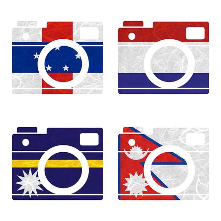 antilles: Nation Flag. Film strip recycled paper on white background. ( Nauru , Nepal , Netherlands Antilles , Netherlands )