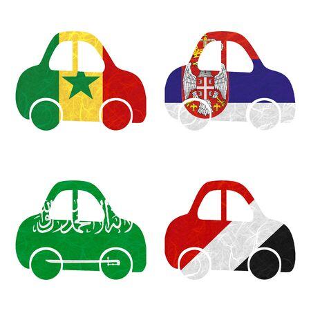 sealand: Nation Flag. Car recycled paper on white background. ( Saudi Arabia , Sealand Principality , Senegal , Serbia )