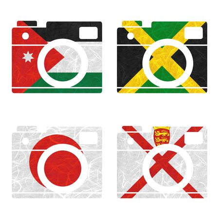 nation: Nation Flag. Film strip recycled paper on white background. ( Jamaica , Japan , Jersey , Jordan )