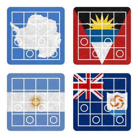 background antarctica: Nation Flag. Chess recycled paper on white background. ( Anguilla , Antarctica , Antigua and Barbuda , Argentina )