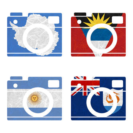 anguilla: Nation Flag. Film strip recycled paper on white background. ( Anguilla , Antarctica , Antigua and Barbuda , Argentina )