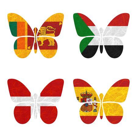 sovereign: Nation Flag. Film strip recycled paper on white background. ( Sovereign Military Order of Malta , Spain , Sri Lanka , Sudan )