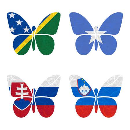 nations: Nation Flag. Film strip recycled paper on white background. ( Slovakia , Slovenia , Solomon Islands , Somalia )