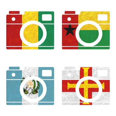 guernsey: Nation Flag. Film strip recycled paper on white background. ( Guatemala , Guernsey , Guinea , Guinea-Bissau ) Stock Photo