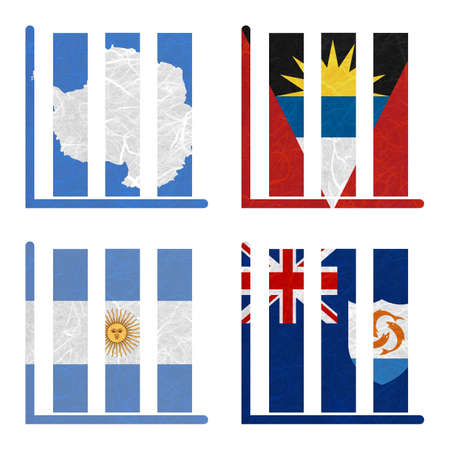 background antarctica: Nation Flag. Book-shelf recycled paper on white background. ( Anguilla , Antarctica , Antigua and Barbuda , Argentina )