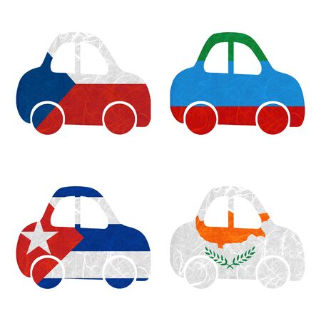dagestan: Nation Flag. Car recycled paper on white background. ( Cuba , Cyprus , Czech Republic , Dagestan )