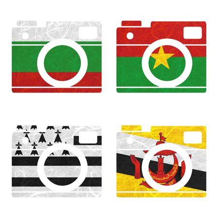 brittany: Nation Flag. Film strip recycled paper on white background. ( Brittany , Brunei Darussalam , Bulgaria , Burkina Faso )