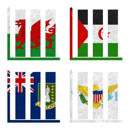 virgin islands: Nation Flag. Book-shelf recycled paper on white background. ( Virgin Islands - UK , Virgin Islands - US , Wales , Western Sahara )