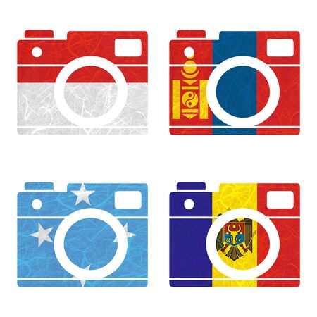 federated: Nation Flag. Film strip recycled paper on white background. ( Micronesia Federated States , Moldova , Monaco , Mongolia )
