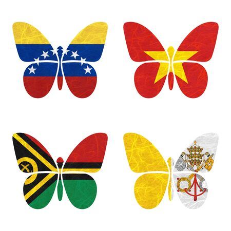 vatican city: Nation Flag. Film strip recycled paper on white background. ( Vanuatu , Vatican City State , Venezuela , Vietnam )