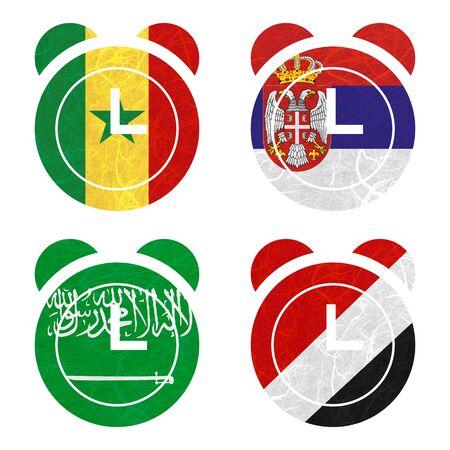 sealand: Nation Flag. Clock recycled paper on white background. ( Saudi Arabia , Sealand Principality , Senegal , Serbia ) Stock Photo