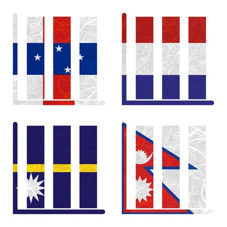 antilles: Nation Flag. Book-shelf recycled paper on white background. ( Nauru , Nepal , Netherlands Antilles , Netherlands )