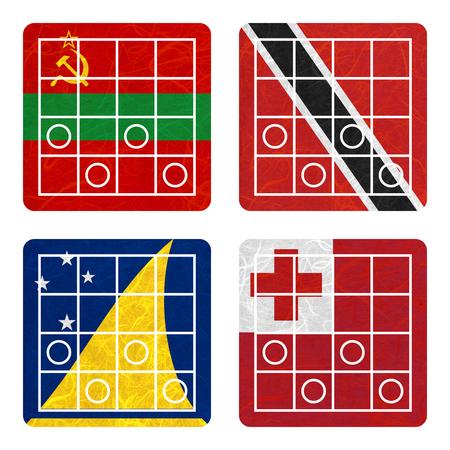 tokelau: Nation Flag. Chess recycled paper on white background. ( Tokelau , Tonga , Transnistria , Trinidad and Tobago )