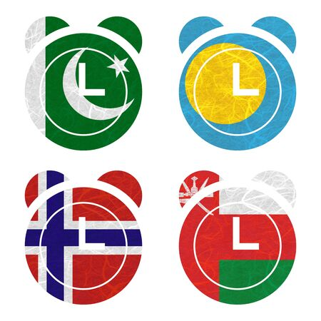 nations: Nation Flag. Clock recycled paper on white background. ( Norway , Oman , Pakistan , Palau )