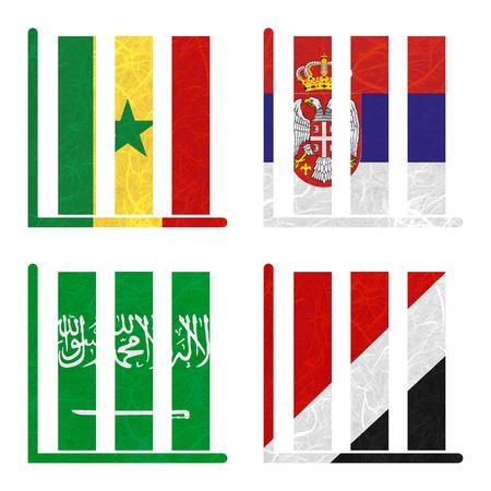 sealand: Nation Flag. Book-shelf recycled paper on white background. ( Saudi Arabia , Sealand Principality , Senegal , Serbia ) Stock Photo