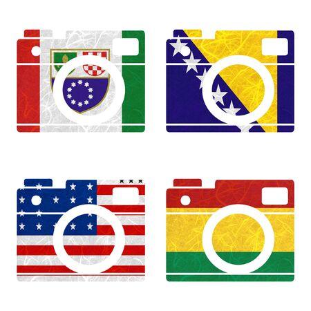 atoll: Nation Flag. Film strip recycled paper on white background. ( Bikini Atoll , Bolivia , Bosnia and Herzegovina Federation of, Bosnia and Herzegovina )