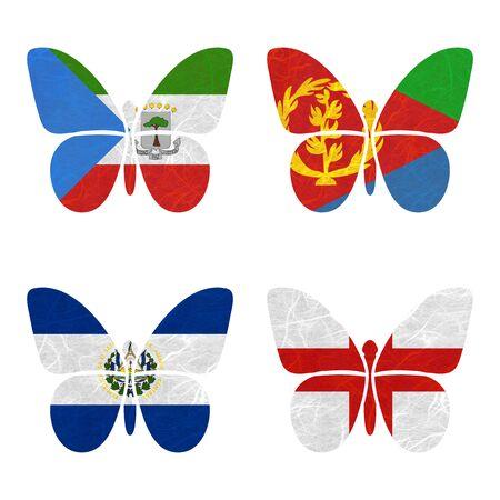 eritrea: Nation Flag. Film strip recycled paper on white background. ( El Salvador , England , Equatorial Guinea , Eritrea ) Stock Photo