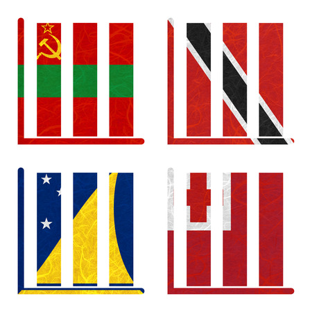 Nation Flag. Book-shelf recycled paper on white background. ( Tokelau , Tonga , Transnistria , Trinidad and Tobago )