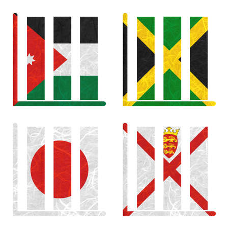 Nation Flag. Book-shelf recycled paper on white background. ( Jamaica , Japan , Jersey , Jordan )