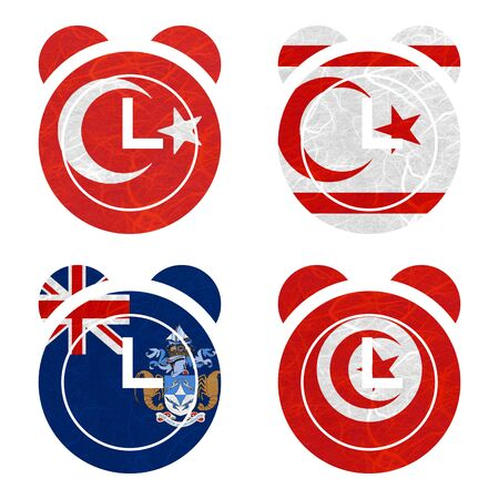 Nation Flag. Clock recycled paper on white background. ( Tristan da Cunha , Tunisia , Turkey , Turkish Republic of Northern Cyprus ) Stock Photo