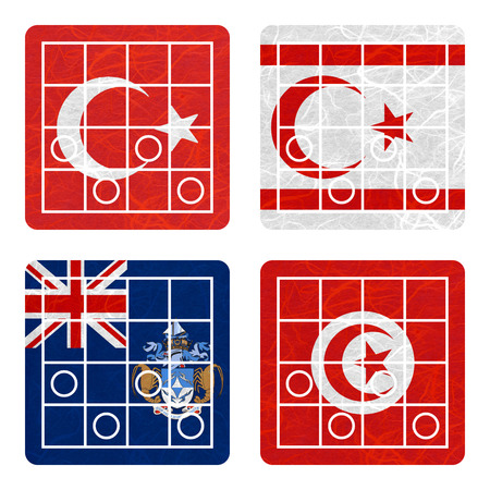 Nation Flag. Chess recycled paper on white background. ( Tristan da Cunha , Tunisia , Turkey , Turkish Republic of Northern Cyprus ) Stock Photo