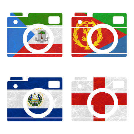 Nation Flag. Film strip recycled paper on white background. ( El Salvador , England , Equatorial Guinea , Eritrea ) Stock Photo