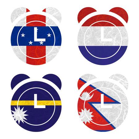 antilles: Nation Flag. Clock recycled paper on white background. ( Nauru , Nepal , Netherlands Antilles , Netherlands )