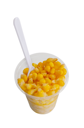 Slice boiled buttered corn is served