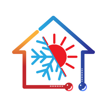 hot cold climate hvac vector icon 版權商用圖片