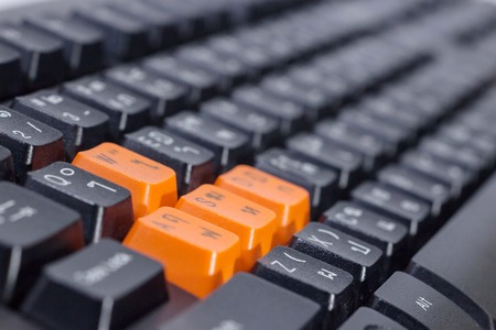 buttom: concepts different buttom and color of keyboard. Stock Photo