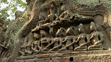 lintel: angels sculpture on lintel at Ta Prohm Temple , Angkor wat