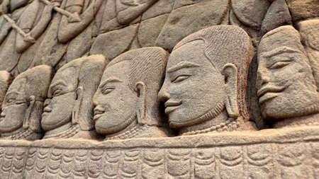 prasat bayon: Bas-relief of temple Prasat Bayon in Angkor Wat , Cambodia