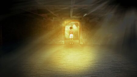 niños abandonados: chica solitaria, el concepto de los niños abandonados o vulnerables en el cuarto oscuro.