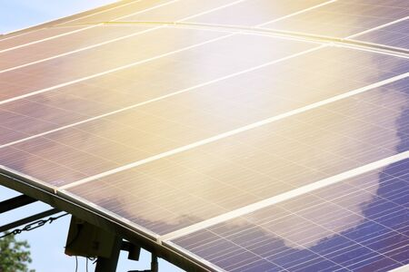 energy production: solar panels for electrical energy production. Stock Photo