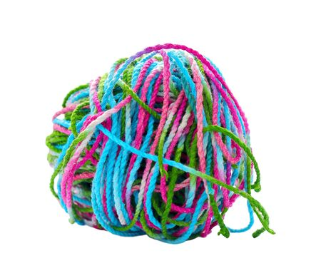 tangled: Tangled yarn, Tangled colorful sewing threads on white background. Stock Photo