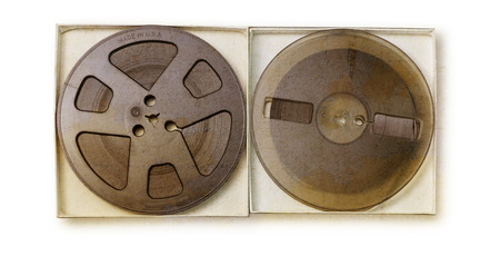 reproductive technology: old sound recording tape, reel to reel type. Stock Photo