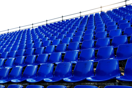 ballpark: rows of blue seats Temporary stadium