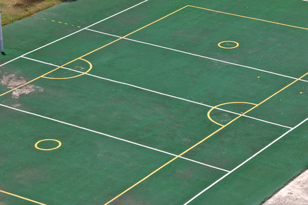 play the old park: Outdoor basketball, volleyball, badminton court in school. all in one.