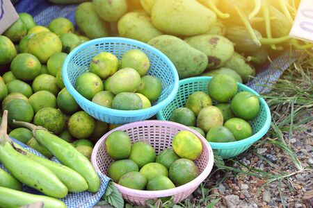 enhances: fresh green lime is a condiment that enhances the taste for Asian food sold at rural markets. Stock Photo
