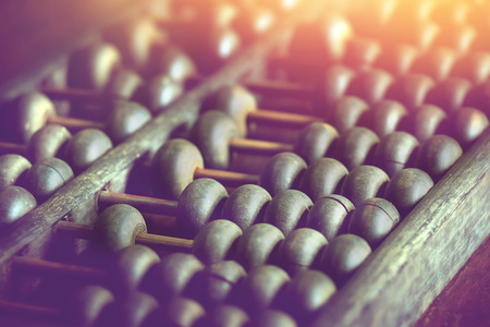 vintage wooden abacus used for calculating. Stock Photo