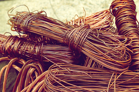 copper wire from factory used for recycling.