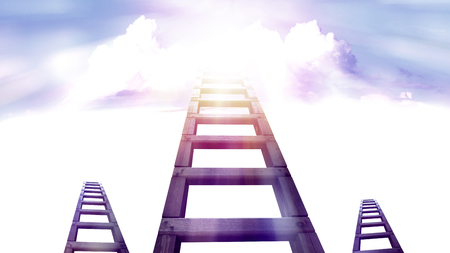 ladder to the sky with white cloud,  step to success Stockfoto
