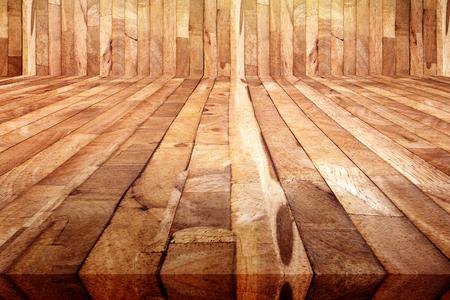 perspective view of grunge plank wood floor background, texture of wooden sauna room