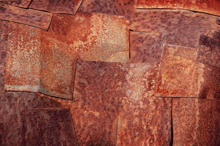 rusty weathered metal patches. abstract industrial background Banco de Imagens