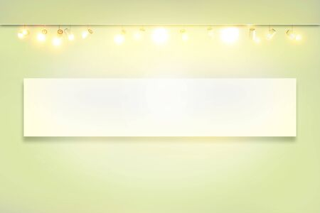 spotlights in empty exhibition room. white wall with spot Illuminated lamp