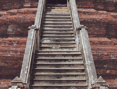 old bricks staircase of ancient ruined pagada in Thailand Banco de Imagens