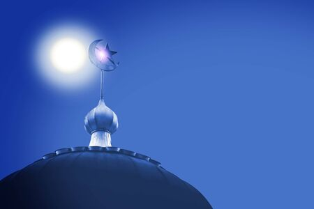 crescent and star, the symbol of Islam on dome of the mosque with blue sky Banco de Imagens