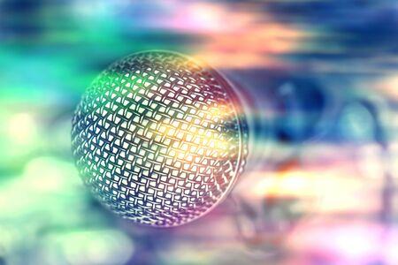 microphone in bar for karaoke, colorful nightlife. Banco de Imagens
