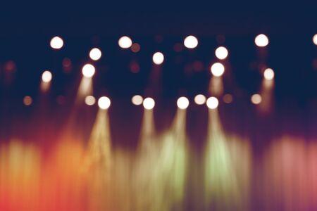 blurred lights on stage, abstract image of spotlight concert. Banco de Imagens